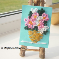 Pink Flowers Mixed Media Embroidered ACEO.