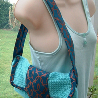 Tied to Crochet! Unique fully lined crocheted Handbag with Gent's Neck Tie