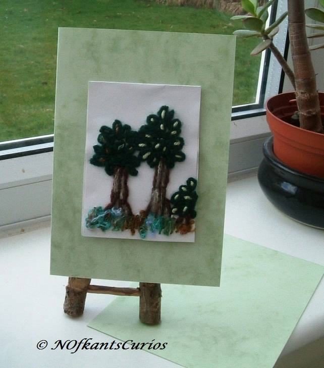Forest View Embroidered Greeting Card, Left Blank for your own message.