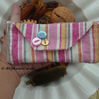 Candy Striped Glasses Case with Magnetic closure popper
