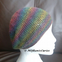Autumn Hues, Rainbow Toned Crocheted Beret or Slouchy Hat