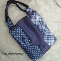 'Vertically Tied'  Silk Handbag made from Gent's Neck Ties.