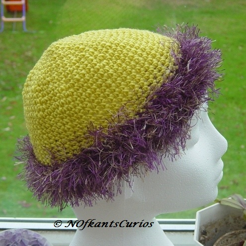 Glorious Fluffy Trim Crocheted Child's Hat,  approx age 3 to 6 yrs