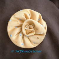 Tied to my Corsage!  Yellow Silk Rose Corsage made from Gent's Neck Tie.