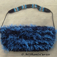 Blue Velvet! Hand knitted, Velvet lined Handbag & Leather & Bead strap