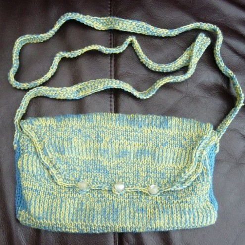 Puffin Dazzle Hand Knitted, Crocheted & fully lined Handbag.