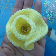 Daffodil!  Structural Posy Hand Crocheted textural Floral Corsage