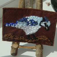 Blue Jay Embroidered Yarn and Felt ACEO