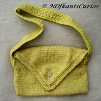Spring Gold Hand Knitted & Crocheted Handbag.