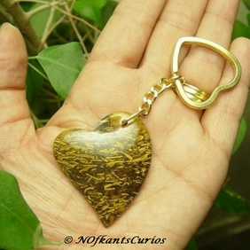 Jumbo Double Heart: Elephant Jasper Keyring or Handbag Charm