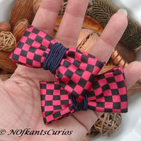 Checks Tied to My Hair!  Pair of Hair Accessories made from Gent's Neck Tie.