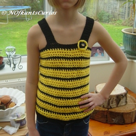 Bumble Bee Top, Girl's Crocheted Strappy top for Ages 7 to 10