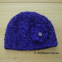 Mini African Violet Crocheted Hat with Crochet &  Button flower, 0 to 6 months