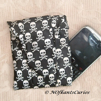Jolly Roger!  Gadget or Phone Pouch made from Gent's Neck Tie!