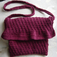 Burgundy Wine, Hand Knitted Handbag, with Shocking Pink Surprise!