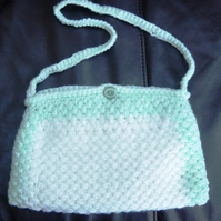 Aqua Foam Hand Crocheted and Sewn Handbag.