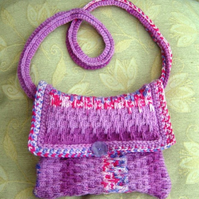 Aran Meadow, Hand knitted & crocheted Handbag with shoulder strap