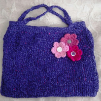 Girl's Sweet Floral Chenille: Purple Hand Knitted Handbag