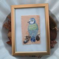 Blue Tit on Branch, Embroidered Yarn and Felt Picture