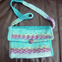 Aran Turquoise & Heather, Hand Knitted & Crocheted Handbag.