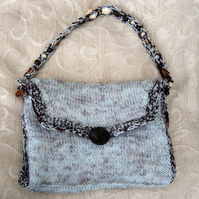 Chocolate Marl, Hand Knitted & Crocheted Handbag, Glass bead strap.