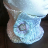 Pastel Rainbow, Crocheted Neck Cosy with floral Button Adornment.