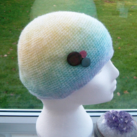 Pastel Rainbow, Crocheted beret or Slouchy Hat with Button Adornment.