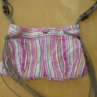 Candy Stripe Upcycled clothing Handbag with Belt Strap