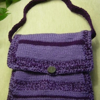 Purples Galore Hand Knitted & Crocheted Handbag with crochet strap
