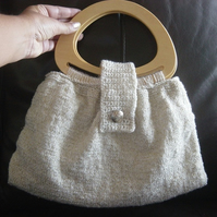 Golden Sparkle! Knitted & Crocheted Handbag with Wooden Handles.