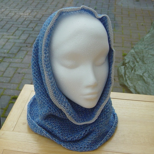 Classic Blue & Grey Hand Crocheted Snood.