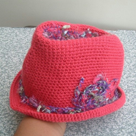 Baby Trilby! Crocheted Pink & Rainbow yarn Trilby for the Little Lady.