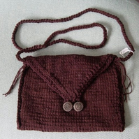 Chocolate & Scarlet: Hand Knitted Handbag, Vintage Glass Buttons.