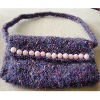 Purple & Shocking Pink Delight! Hand Knitted Mohair Handbag.