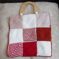 Chevron Dazzle, Hand Knitted & Crocheted Handbag, wooden handles.