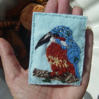 Kingfisher Perch!  Embroidered Yarn and Felt ACEO.