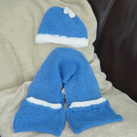 Smurf or Smurfette Hat & Mitten Scarf Ensemble for a Toddler