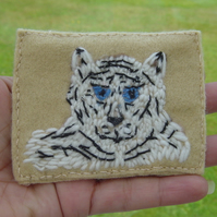 White Tiger Embroidered Yarn and Felt ACEO