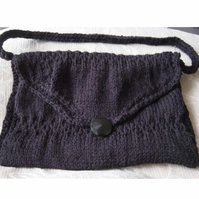 Classic Black Hand Knitted Handbag with Vintage Glass Button.
