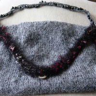 Slate Scarlet Twist Hand Knitted & Crocheted Handbag