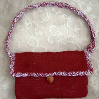 Reversible Russet & White, Hand Knitted & Crocheted Handbag