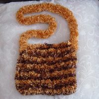 Fluffy Tiger Inspired Hand Knitted & Hand Sewn Funky Handbag.