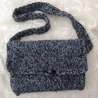 Slate Duffle, Hand Knitted & Crocheted Handbag with Shoulder Strap.