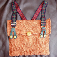 Tartan Brace, Hand knitted and crocheted Handbag with Vintage buttons.