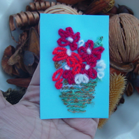 Red Flowers Mixed Media ACEO