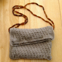 Autumn Wheat. Hand Knitted & Crocheted Handbag with long beaded double strap