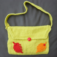 Seasonal Mix. Hand Knitted Handbag, with Leaf & Glass Button detail.