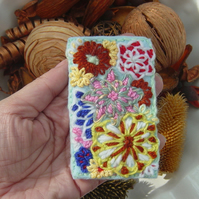 Abstract Floral Embroidered Yarn and Felt ACEO