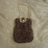 Woodland Hues, Occasional Crocheted Handbag with upcycled frame.