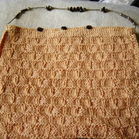 Wool Basket Weave & Tigers Eye Hand Knitted Handbag with Bead Strap